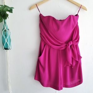 Express Pink Sleeveless Romper With Pockets
